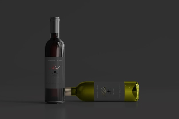 Мокап бутылки красного и белого вина