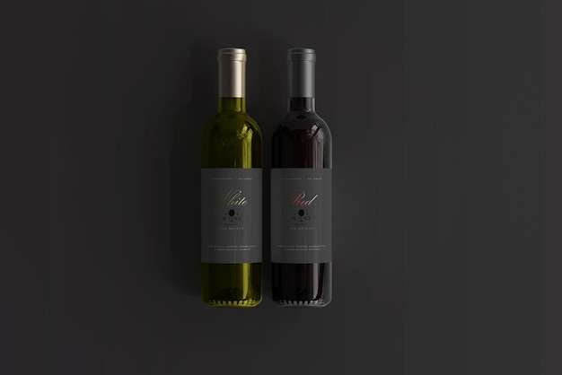 빨간색과 흰색 와인 병 모형