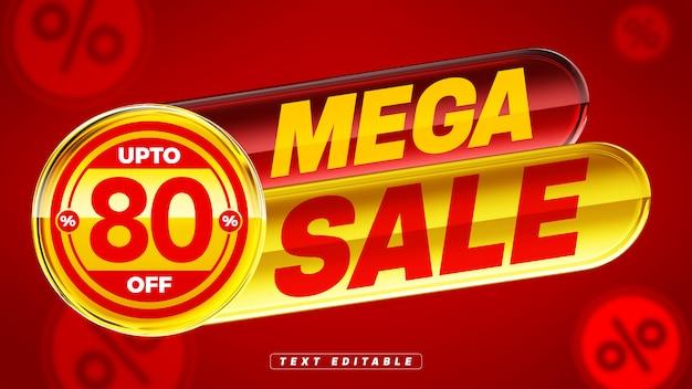Красный и желтый 3d блестящий значок с мега распродажей со скидкой 80%