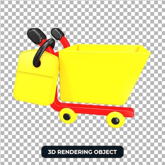 Красная и желтая тележка для покупок 3d визуализации изолированные