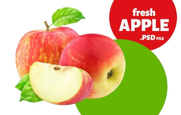 白い壁に分離された赤いリンゴ果実