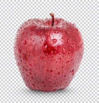Красное яблоко с каплями изолированно premium psd