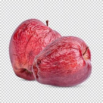 Красное яблоко засохло изолированно premium psd