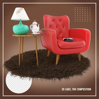 갈색 양탄자와 램프가있는 테이블이있는 빨간 안락 의자