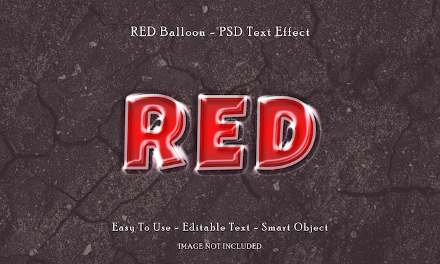Red balloon text effect Premium Psd
