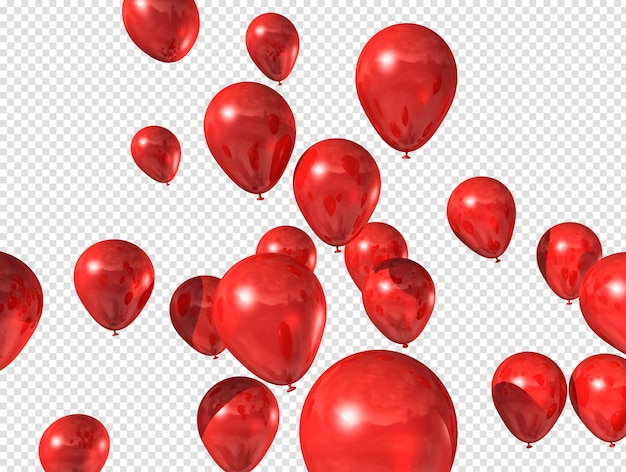 Red balloons floating