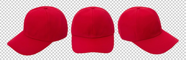 Red baseball cap mockup isolated