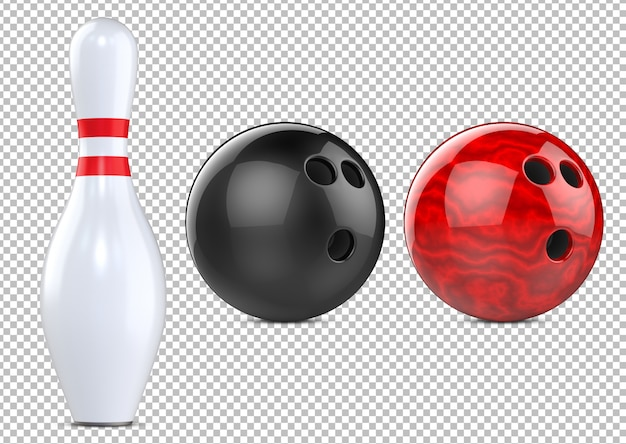 Red, black bowling balls and bowling pin skittle