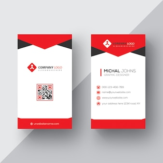 Red and black business card psd