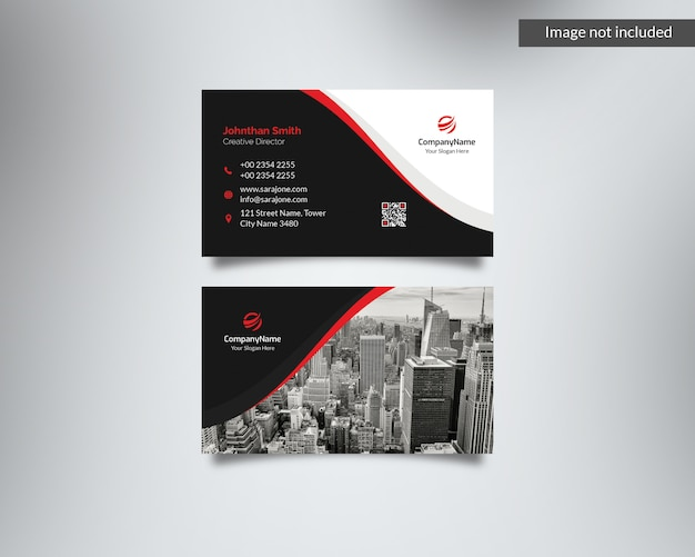 Red and black corporate business card with image