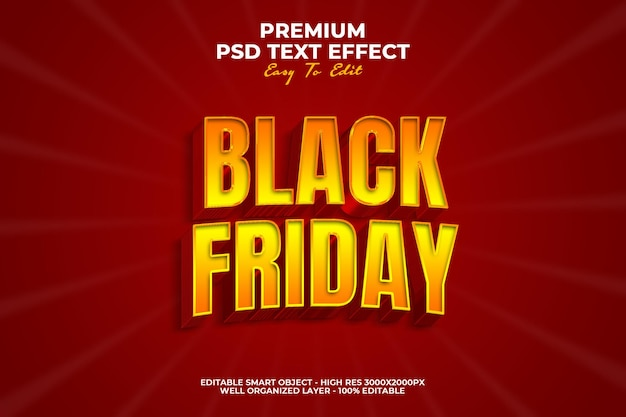 Red black friday text effect