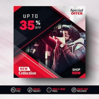 Red black instagram social media post fashion sale banner