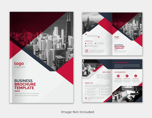 Red and black multipurpose minimalist annual report business proposal bifold brochure template
