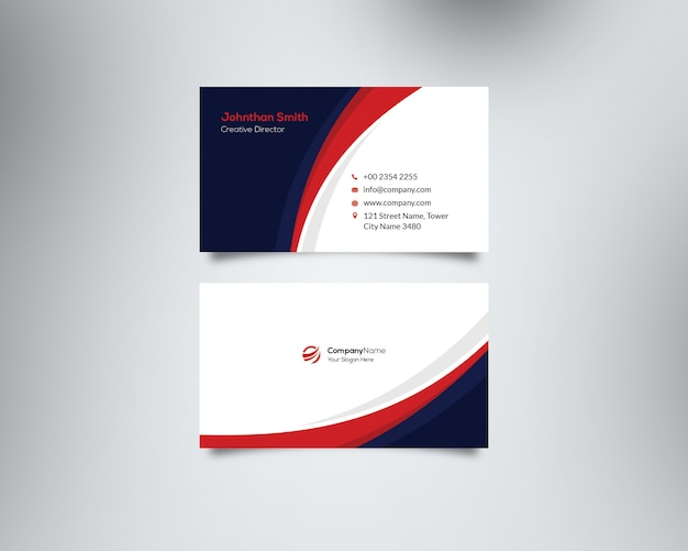Red and blue waves corporate business card