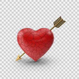 矢印の正面図と赤い失恋