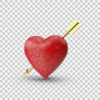 矢印の側面図と赤い失恋