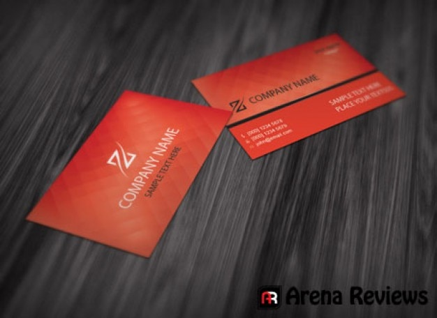 Red business card template with elegant texture