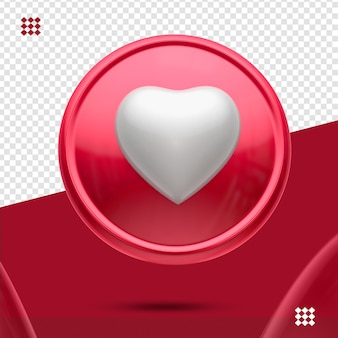 Red button with white heart like 3d fronticon isolated