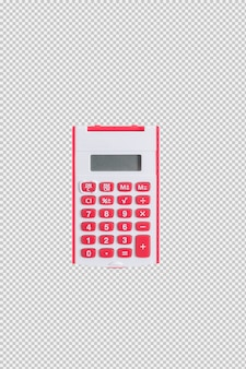 Red calculator isolated on white background