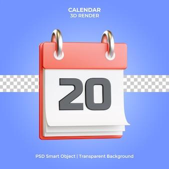 Red calendar 3d render isolated premium psd