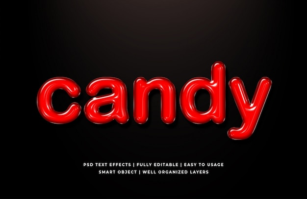 Red candy 3d text style effect mockup