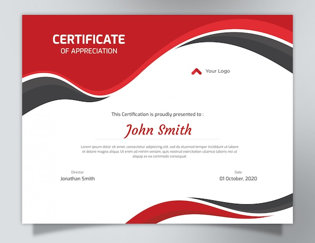 Red certificate template design