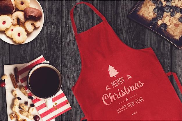 Красный макет рождественского фартука