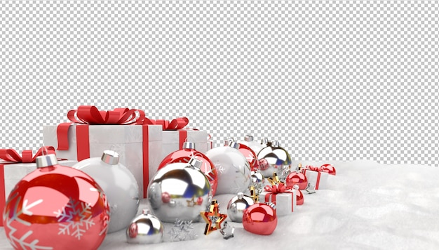Red christmas balls and gifts on snow