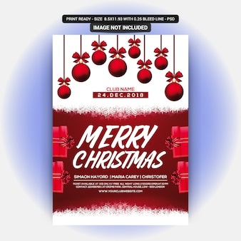 Red christmas party invitation flyer