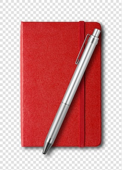 Red closed notebook and pen isolated