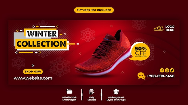 Red color and comfortable shoes sale facebook cover template