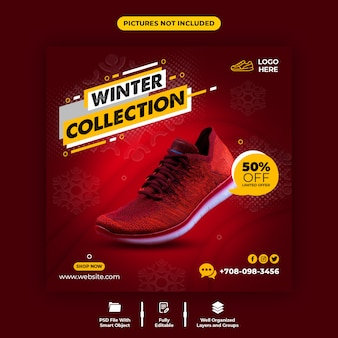 Red color and comfortable shoes sale social media banner template