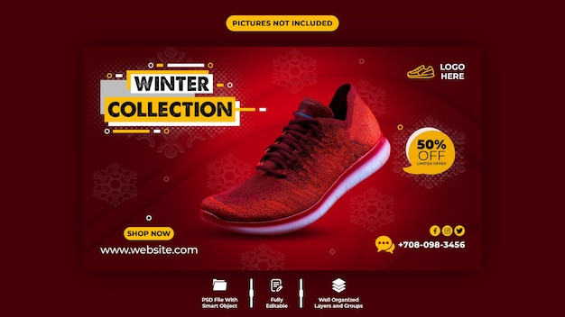 Red color and comfortable shoes sale web banner template
