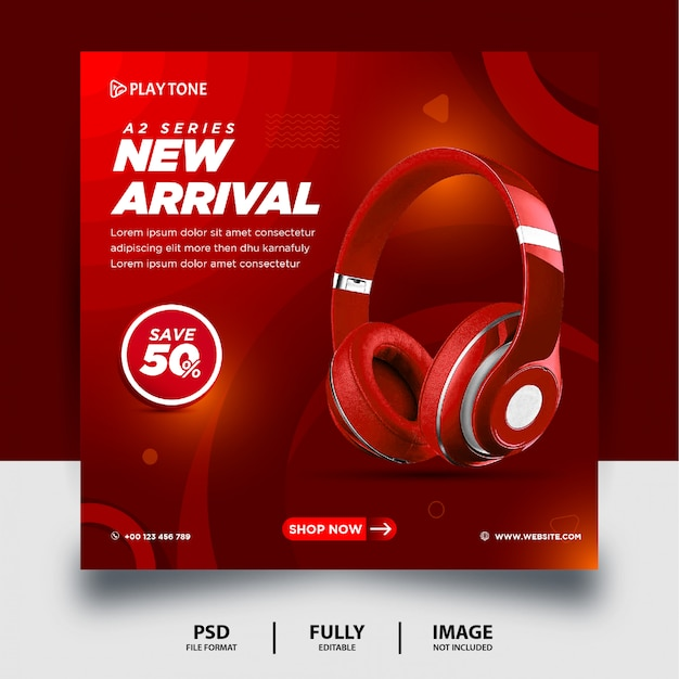 Red color headphone brand product social media post banner