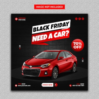 Red color rent car black friday instagram and social media post banner