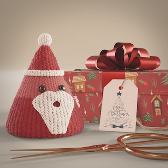 Red decorations and gift wrapped on table