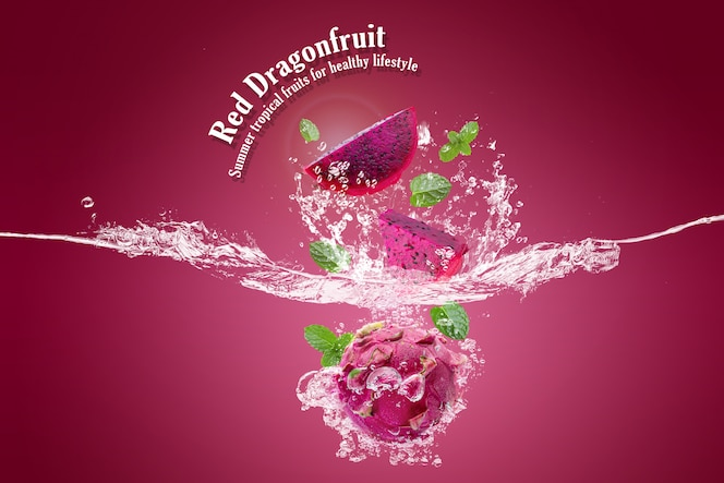 Red dragon fruit Summer tropical fruits for healthy lifestyle.