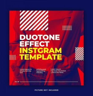 Red dynamic trendy duotone effect with cool element instagram banner template