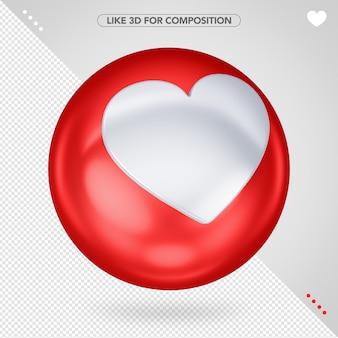 Red ellipse 3d like facebook for composition