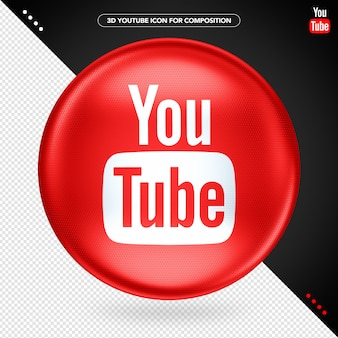Red ellipse 3d logo youtube play