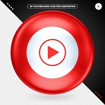 Red ellipse 3d youtube music logo