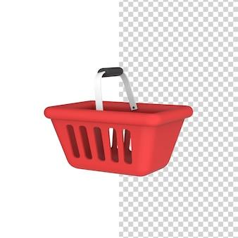 Красная пустая корзина для покупок 3d модель рендеринга
