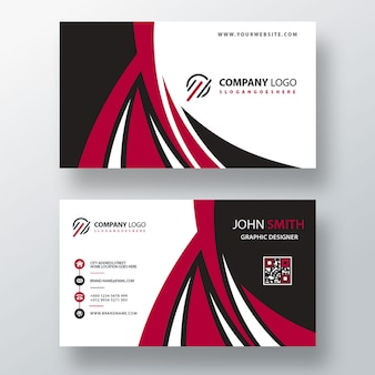 Red font and back business card