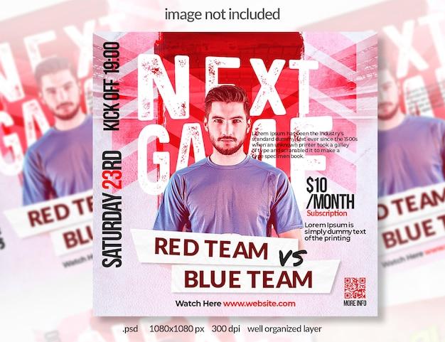 赤いサッカースポーツソーシャルメディアバナー