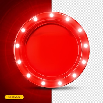 Red frame 3d render with lights for composition premium psd