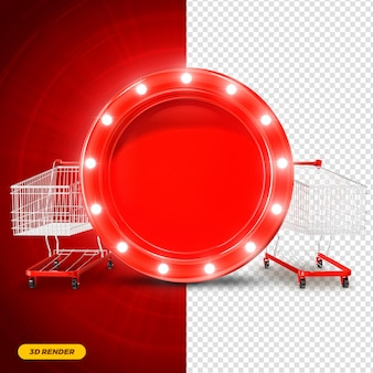 Red frame 3d render with lights and supermarket cart for composition premium psd