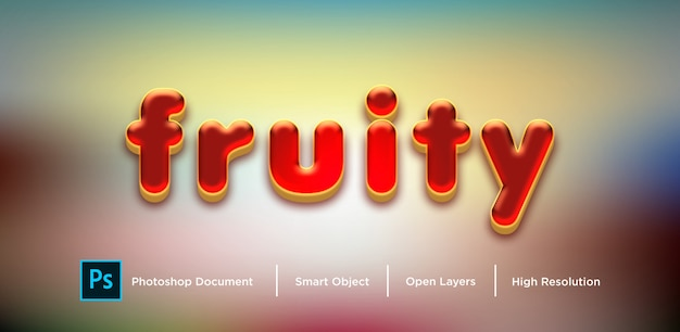 Red fruity text effect дизайн