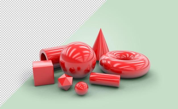 反射のある赤い幾何学的形状