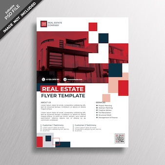 Red geometry style design real estate flyer template