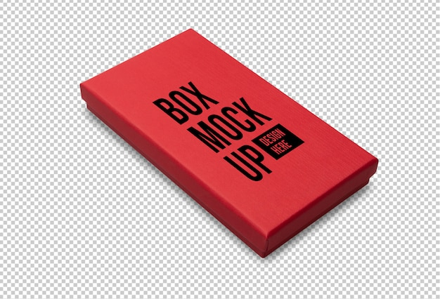 Red gift box mockup template for your design